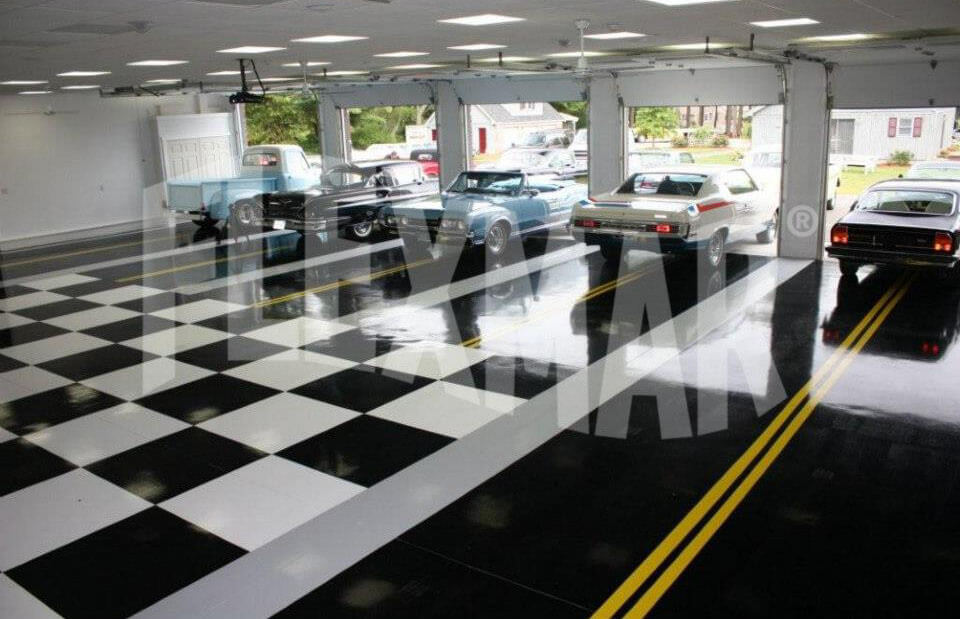 checkered solid color polyaspartic coating