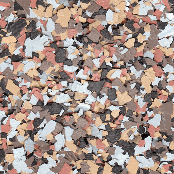 "terrazzo 1/4"" Color Flake Blend - 4 Hour Basement Floor Color Flake Samples"