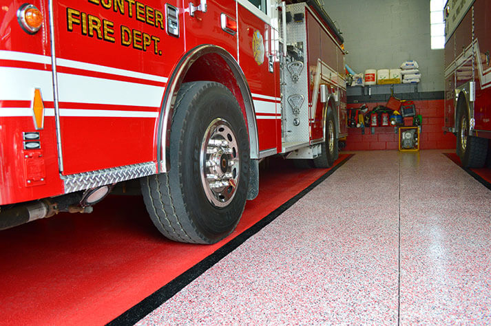commercial floor with Fire truck