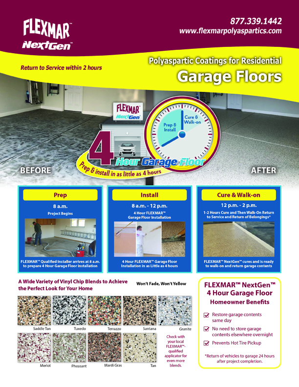 flexmar garage floor sales sheet